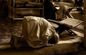 A person offers Sujud.