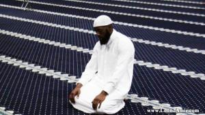 A Muslim offers prayer.